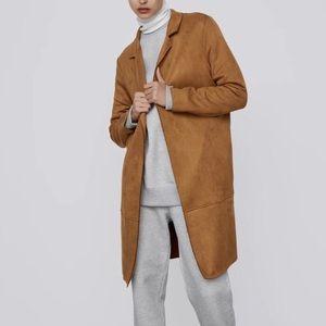 Zara Faux Suede Long Jacket Camel Brown L New